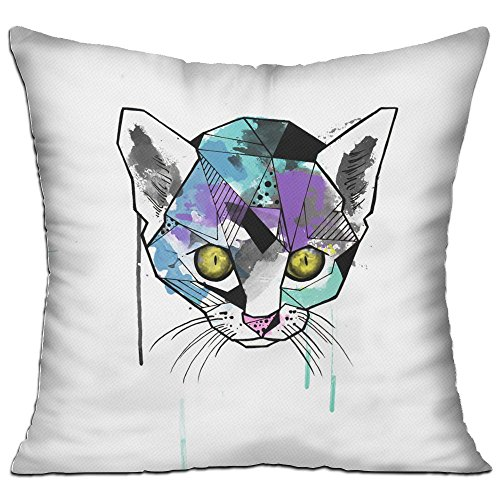 Hakalala Throw Pillow, Watercolor Tattoo Cat, Chic Personalized Sofa 18 X 18 Throw Pillow Covers With (Tattoo Thread Stitch)