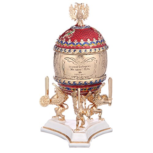 Russian Faberge Style Egg / Trinket Jewel Box Trans-Siberian Express with Imperial Eagle red - Box Egg Jewel
