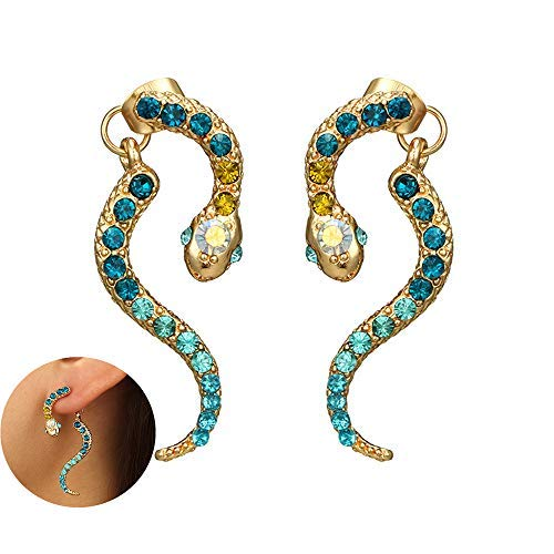 Vintage Snake Statement Dangle Earrings Pave Blue Crystal Coiled Snake Circle Drop Earring for Women (Snake Earrings Pave)