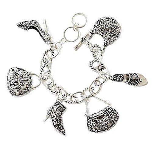 Marcasite Toggle Clasp - Shoe Handbag Charm Bracelet D8 Crystal Silver Tone Purse Sandal Marcasite HOT