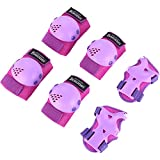Bosoner Kids/Youth Rollerblade Roller Skates Cycling Knee Pads Elbow Pads (Purple, Medium(6-15 years))