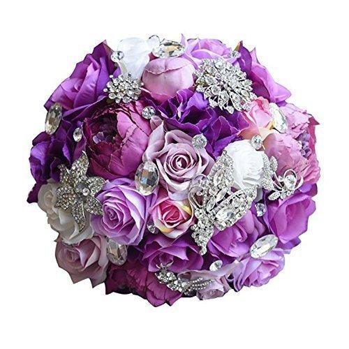 VAlink Artificial Silk Bouquet, Wedding Rose Flower Bouquet, Bridesmaid Bouquet, Artificial Flowers, Fake Flowers Wedding Floral Decor Bouquet Home Garden Party Wedding Decoration Props Supplies from VAlink