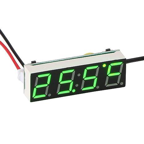 TiooDre Coche Reloj eléctrico Temporizador Digital LED Temperatura Reloj Termómetro Voltímetro Pantalla LED Reloj Digital Luz