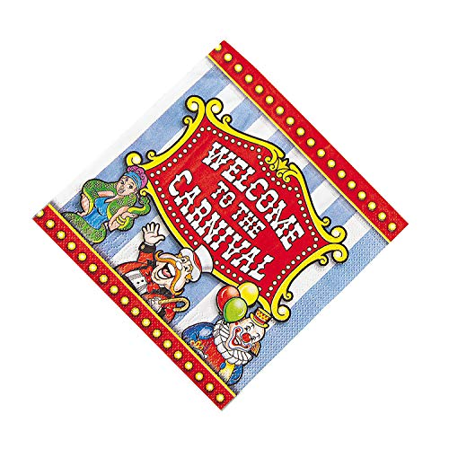 Fun Express - Under The Big Top Luncheon Napkin (16pc) for Birthday - Party Supplies - Print Tableware - Print Napkins - Birthday - 16 -