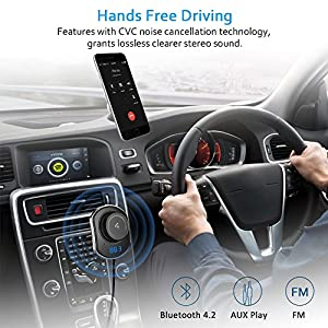 Comsoon Bluetooth Car Receiver, Wireless FM Transmitter Radio Adapter Hands free Car Kit with Mic, Dual USB Car Charger 5V/2.1A, 3.5mm AUX Cable, Echo & Noise Reduction and Magnetic Mounts (black)