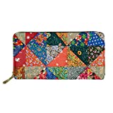 Boho Style Women Travel Wallet Long Coin Purse Clutch Cell Phone Case Floral Triangles