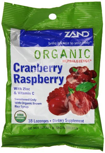 Cranberry Raspberry Lozenge (ZAND Herbalozenge Organic Lozenges, with Zinc & Vitamin C, Cranberry Raspberry, 12 - 18 lozenge bags (216 Lozenges) by Zand)
