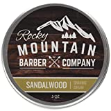 Shaving Cream for Men – Canadian Made With Natural Sandalwood Essential Oil – Hydrating, Anti-inflammatory Rich & Thick Lather for Sensitive Skin & All Skin Types by Rocky Mountain Barber Company – 5 Ounce Tin