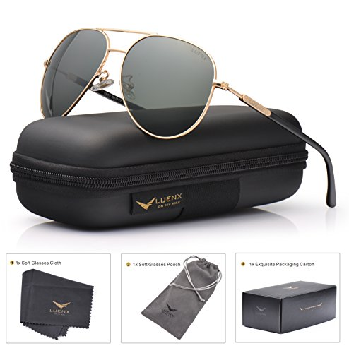 Mens Womens Sunglasses Aviator Polarized Driving by LUENX - UV 400 Protection Grey Green Lens Gold Metal Frame ()
