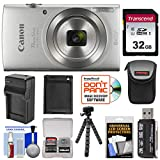 Canon PowerShot Elph 180 Digital Camera (Silver) with 32GB Card + Battery & Charger + Case + Flex Tripod + Reader + Kit