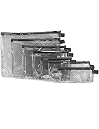 Set of 7 Packing Envelopes, Clear with Black Trim, Assorted Sizes