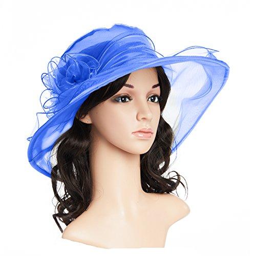 - qnprt Women's Kentucky Derby Hat,Summer Fascinator Flowers Wide Brim Organza Church British Tea Party Wedding Dress Cap (One Size, Blue)