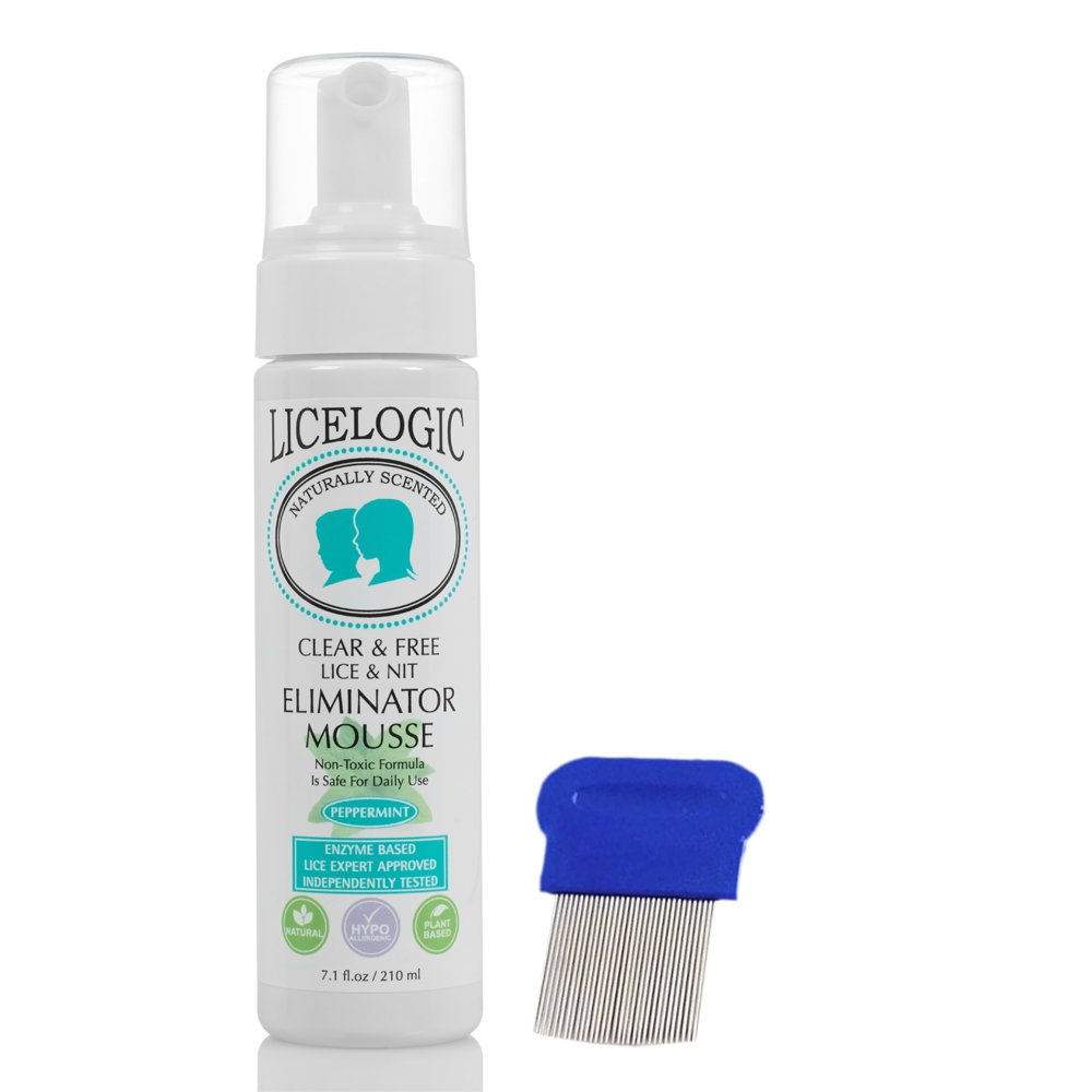 LiceLogic Lice & Nit Eliminator Mousse Treatment Kit - No Pesticides - 2 Piece Kit for One Day Super Lice and Egg Treatment with Sturdy Stainless Steel Tooth Reusable Nit Comb