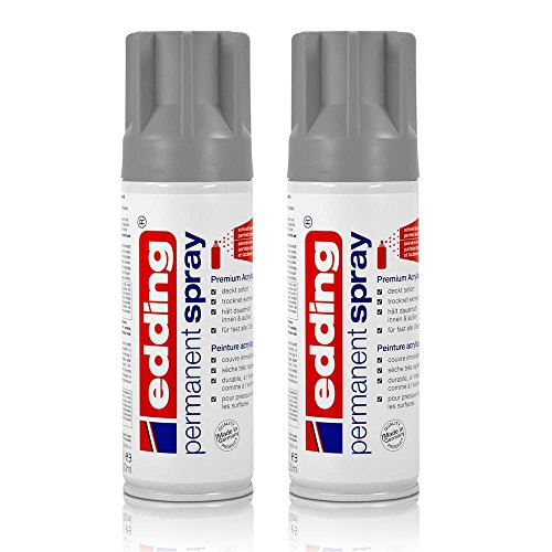 2x edding Permanent Spray silber matt 200 ml Premium Acryllack Spraydose
