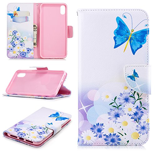 iPhone Xs Max Case, UZER Painted Pattern Shockproof Premium PU Leather Kick Stand Function Folio Flip Wallet Magnetic Clasp Case with Card Holder ID Slot Money Pocket for iPhone Xs Max 6.5 Inch 2018