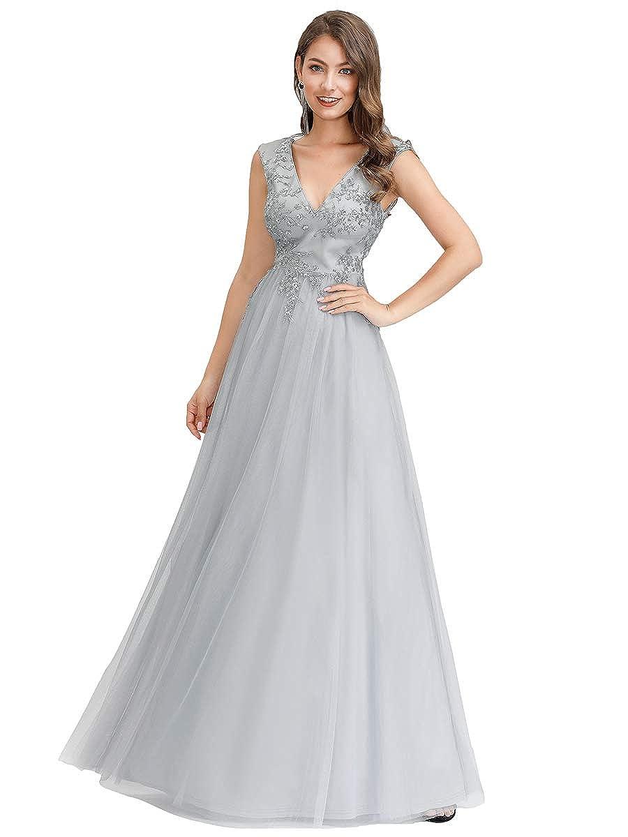 Ever-Pretty Vestito da Cerimonia Donna Linea ad A Ricamato Tulle Scollo a V Senza Maniche 00702