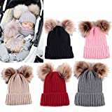 Baby Hat,Minshao 1PC Toddler Newborn Cute Winter Kids Baby Girl Boy Fur Pom Pom Hats Knitted Hemming Cap Beanie Hat (Pink)