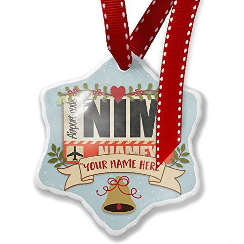 Add Your Own Custom Name, Airportcode NIM Niamey Christmas Ornament NEONBLOND
