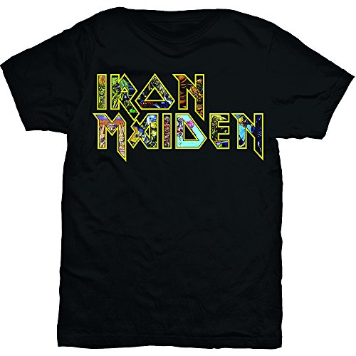 Iron Maiden Eddie Logo Steve Harris Official Tee T-Shirt Mens Unisex (Large) Official Logo Fashion Tee