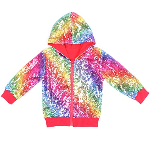 Cilucu Kids Jackets Girls Boys Sequin Zipper Coat Jacket for Toddler Birthday Christmas Clothes Hoodie Red Rainbow 7-8years ()
