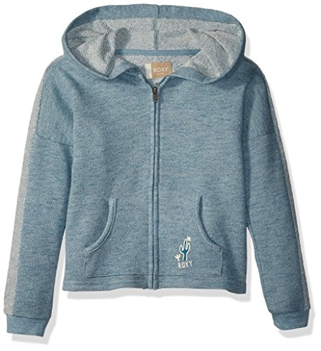 Roxy Little Girls' As We Wish Zip-up Hooded Sweatshirt, Storm Blue Heathered, 7 by Roxy