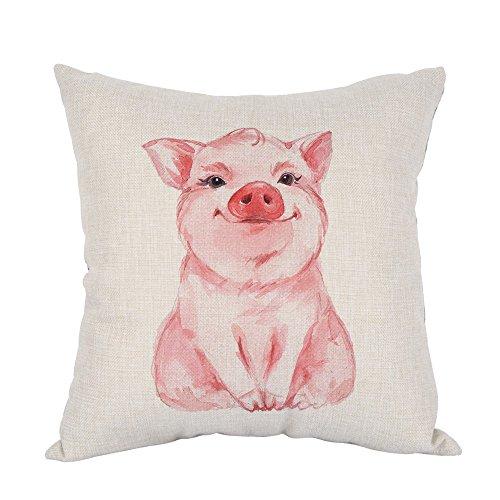 Moslion Pig Pillow Lovely Pink Pig Watercolor Cotton Linen Pillow Covers Square Pillow Cases for Men Women Boys Girls Kids Cushion Pillowcase Sofa Bedroom Livingroom 18