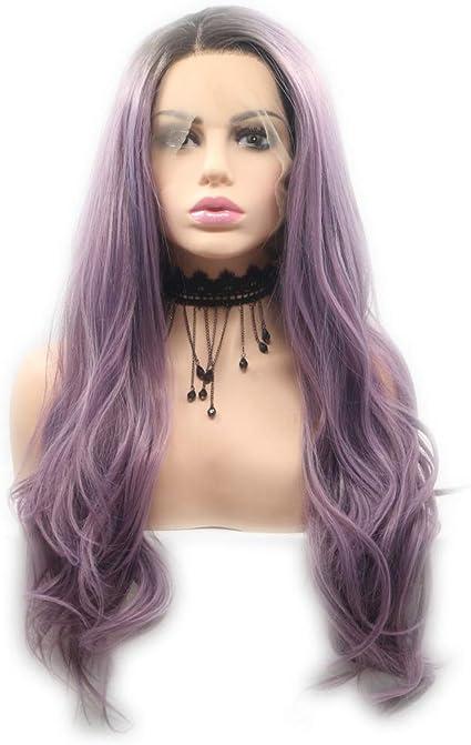 Peluca de pelo sintético largo de color lila y morado, de Beauty New Series, con encaje frontal, sin pegamento, para cosplay, vacaciones, para mujeres y niñas, 24 pulgadas: Amazon.es: Belleza