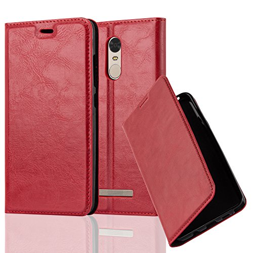 Cadorabo Book Case Works with Xiaomi RedMi Note 3 in Apple RED - with Magnetic Closure, Stand Function and Card Slot - Wallet Etui Cover Pouch PU Leather Flip