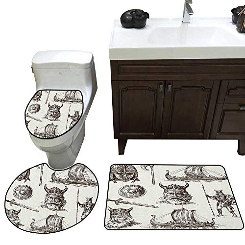 - Viking 3 Piece Toilet mat Set Ancient War Figures Sword Shield and Warriors Mask Dragon Head Ship Medieval Bathroom and Toilet mat Set Dark Brown White
