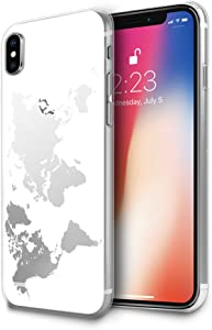 HELLO GIFTIFY Compatible with iPhone Xs Max Case, White Map Designed on Clear Soft TPU Gel Case for iPhone Xs Max 6.5 inch (2018), Slim Fit Protective Rubber Cover Case