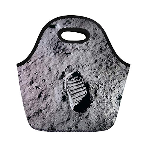 Semtomn Lunch Tote Bag Footprint Apollo 11 Boot the Moon July 20 1969 Reusable Neoprene Insulated Thermal Outdoor Picnic Lunchbox for Men ()
