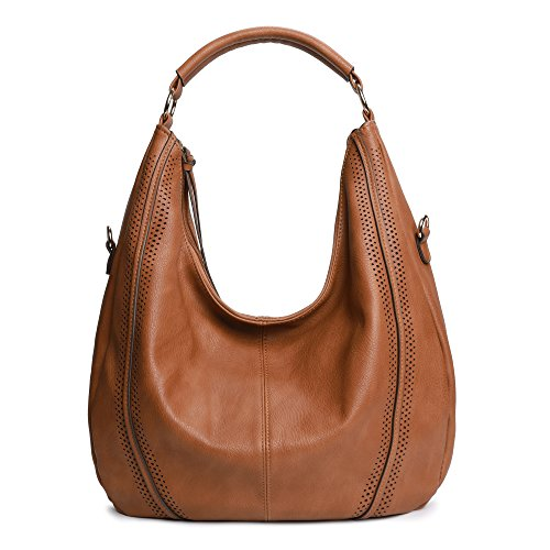 Women Hobo Bags Oversized Leather Handbags PU Crossbody Shoulder Totes Winter Stylish Purses (Tan)
