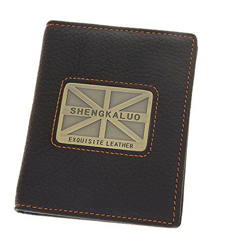 - British Flag Genuine Cowhide Leather Bifold Walllet Purse Checkbook Wallet Black Money Clip With Card Slots ID Window Front Pocket Wallet