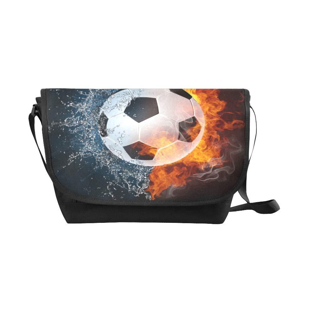 InterestPrint Cool Ball in Fire Mens Womens Messenger Bag Crossbody Shoulder Bags for School Traveling Black
