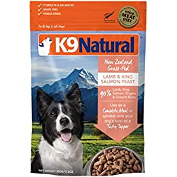 K9 Natural Freeze Dried Dog Food Or Topper Perfect Grain Free, Healthy, Hypoallergenic Limited Ingredients Booster for All Dog Types - Raw, Freeze Dried Mixer (Lamb & King Salmon, 17.6oz)