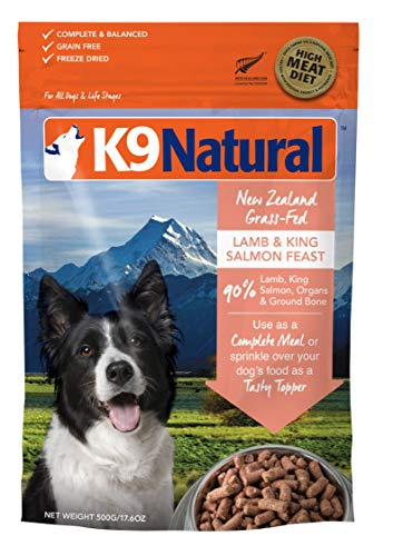K9 Natural Freeze Dried Dog Food Or Topper Perfect Grain Free, Healthy, Hypoallergenic Limited Ingredients Booster for All Dog Types - Raw, Freeze Dried Mixer (Lamb & King Salmon, ()