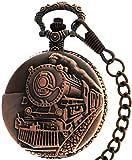 Train Skeleton Steam Design Case Dangle for Quartz Pocket Watch + Chain (Red Copper)