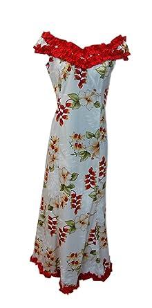 c99e6cdd90d Jade Fashions Inc.. Hawaiian Women Long Ruffle Dance Heliconia Flower Maui  Dress-White-2XL at Amazon Women s Clothing store