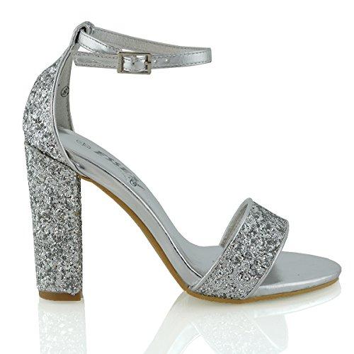 Essex Glam Sintético Sandalias de punta abierta con tira al tobillo y tacón cuadrado Plata Resplandecer
