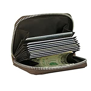 RFID Blocking Coin Pouch Purse Credit Card Case Holder Wallet With Zipper (Brown)