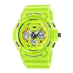 Boys Watch, Sports Watches, LED Analog Digital Display Watches Sport Waterproof for Boy Girls Kids Green