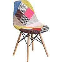 Mid-Century Modern Patchwork Accent Fabric Chair with Wood Base - Dining Chair