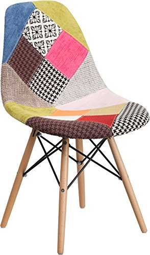Cheap Mid-Century Modern Patchwork Accent Fabric Chair with Wood Base – Dining Chair