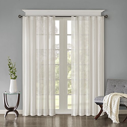 Madison Park Harper Solid Crushed Window Curtain Panels Pair Drapes for Bedroom Living Room and Dorm, 42
