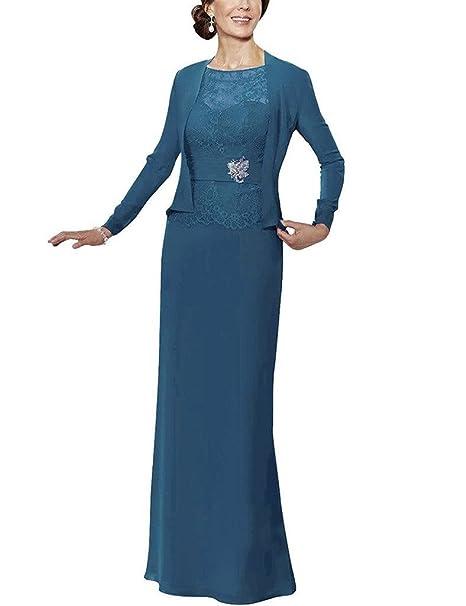 HUINI Encaje Beads Madre de Gasa de la Novia de Vestidos Largos Vestidos Formales con Chaqueta