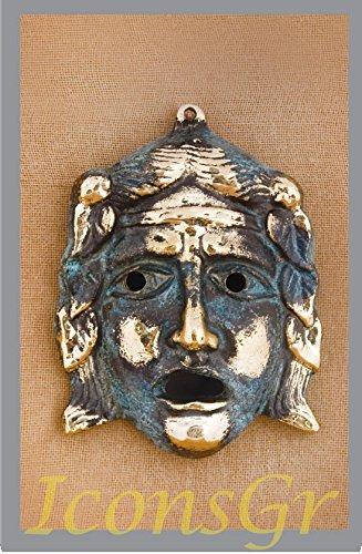 Griego antiguo Bronce Museo Estatua réplica de teatro máscara de tragedia (461)