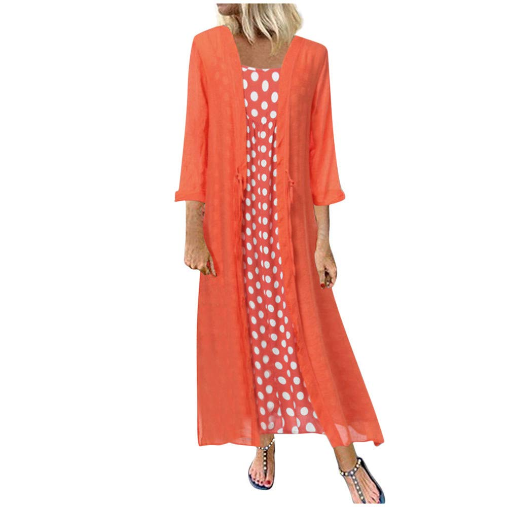 Women's Maxi Dresses Long Sleeve Polka Dot Printed Cotton Linen Casual Loose Cardigans 2-Pieces Long Dress Plus Size Red by Qiujold Women's Tops (Image #1)