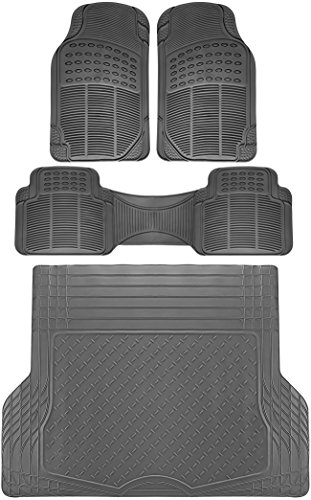 OxGord 4pc Rear Set Ridged Rubber Floor Mats, Universal Fit Mat for SUVs Vans- Rear Driver Passenger Side, Rear Runner and Trunk Liner Gray
