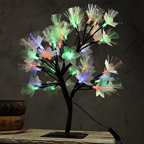 MHOLFB 0.4M/15.75 Inch 40 Bulbs LED Cherry Blossom Tree Branches Light Fiber Optic Desk Bonsai lamp Decoration for Home Festival Party Wedding Christmas (Multicolor)