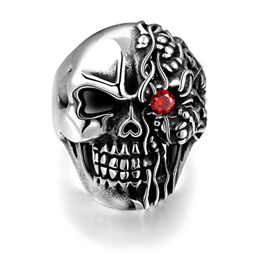 BLOOMCHARM Skull Rings for Men Boys Jewelry Punk Skull Head Stainless Steel Bands Gifts Presents by BLOOMCHARM